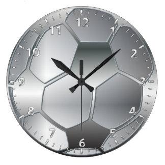 silver metallic effect Soccer ball Star Wall Clocks