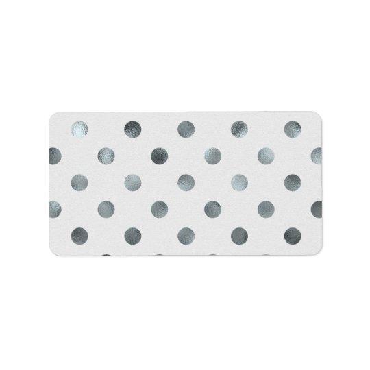 Silver Metallic Faux Foil Large Polka Dot Grey Address Label