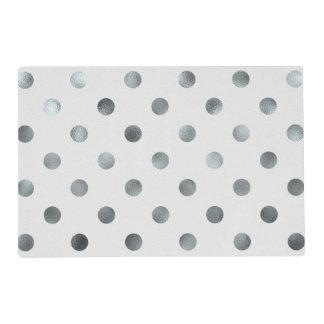Silver Metallic Faux Foil Large Polka Dot Grey Laminated Placemat