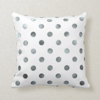 Silver Metallic Faux Foil Polka Dot White Cushion