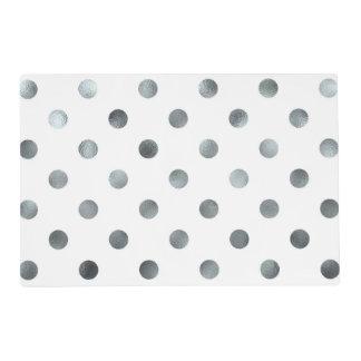 Silver Metallic Faux Foil Polka Dot White Laminated Placemat