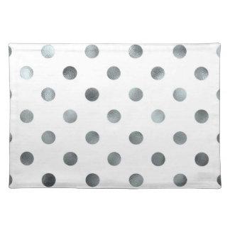 Silver Metallic Faux Foil Polka Dot White Placemats