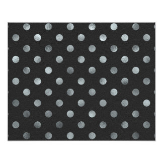 Silver Metallic Faux Foil Small Polka Dot Black Photo Print