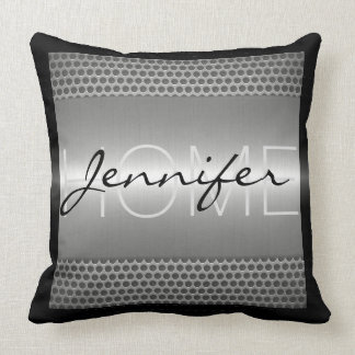 Silver Metallic Holes Metal Look Monogram Cushion