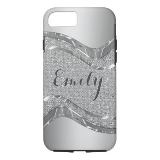 Silver Metallic Look & Faux White Glitter iPhone 7 Case