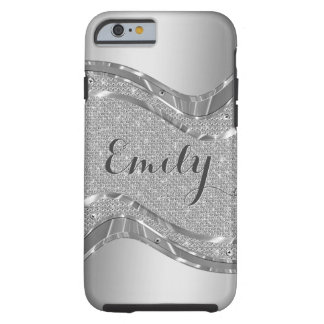 Silver Metallic Look & Faux White Glitter Tough iPhone 6 Case