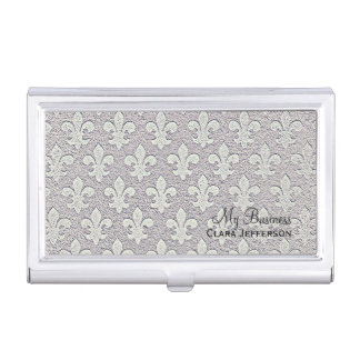 Silver metallic look fleur de lis pattern business card holder