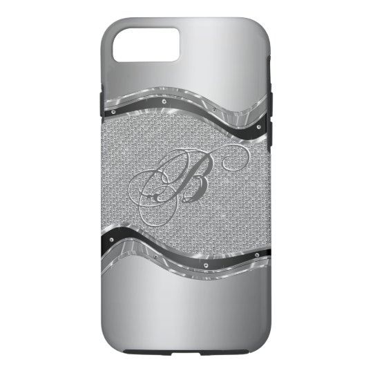 Silver Metallic Look With Diamonds Pattern 2a iPhone 7 Case