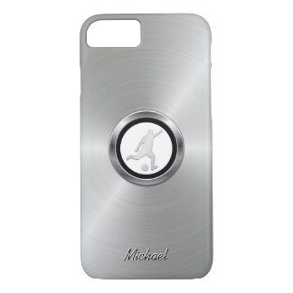 Silver Metallic Soccer Player with Your Monogram iPhone 8/7 Case