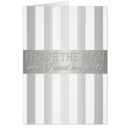 Silver Metallic Striped Bridesmaid Request Card