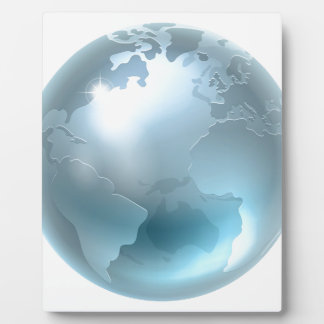 Silver Metallic World Earth Globe Photo Plaque