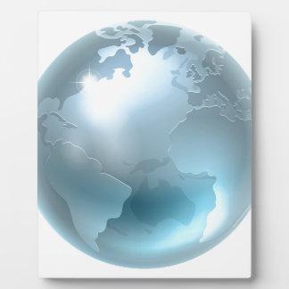 Silver Metallic World Earth Globe Photo Plaque