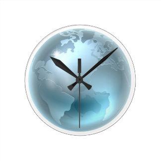 Silver Metallic World Earth Globe Round Clock