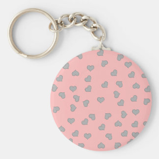 SILVER MINI HEARTS ON PINK BASIC ROUND BUTTON KEY RING