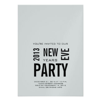 Silver Modern 2013 New Years Eve Party Invitation