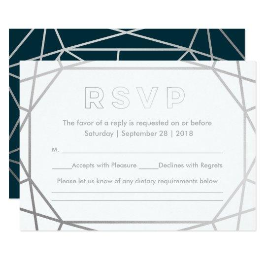 Silver Modern Geometric Diamond Wedding RSVP Card