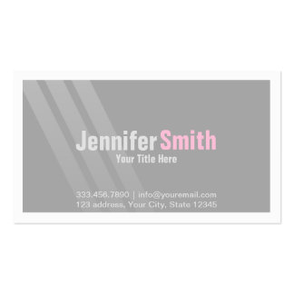 Silver Modern Grey Pink With Stripes and Frame Pack Of Standard Business Cards