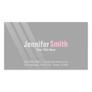 Silver Modern Grey Pink With Stripes Pack Of Standard Business Cards