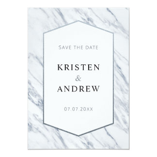 Silver Modern Marble   Save The Date Card