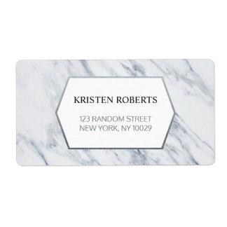Silver Modern   Marble Wedding Address Label