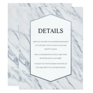 Silver Modern | Marble Wedding Details Card