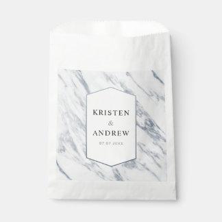 Silver Modern   Marble Wedding Favor Bag