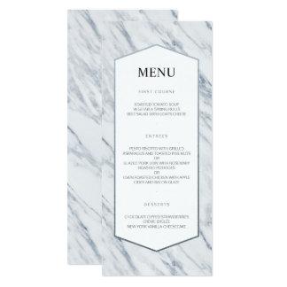 Silver Modern | Marble Wedding Menu Card