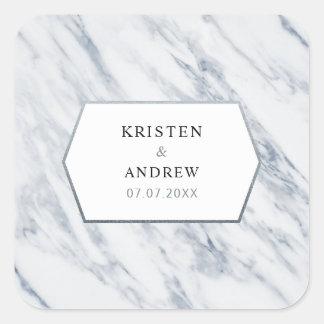 Silver Modern   Marble Wedding Stickers