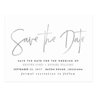 Silver Modern Save the Date Postcard