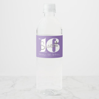 Silver & Modern, Sweet 16 Water Bottle Label