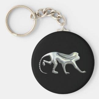 Silver Monkey Basic Round Button Key Ring