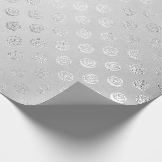 Silver Monochromatic Delicate  Gray Floral Roses Wrapping Paper