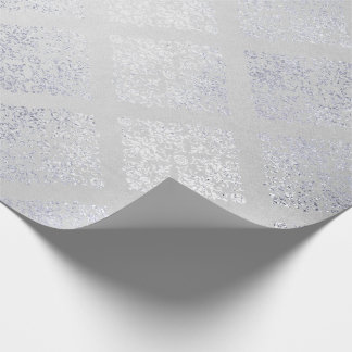 Silver Monochromatic Gray Floral Royal Damask Wrapping Paper