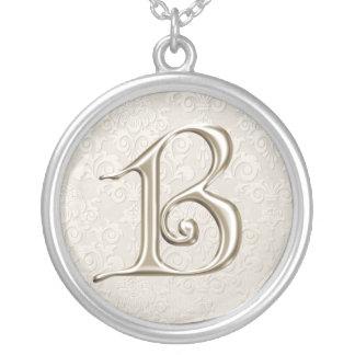 Silver Monogram Necklace - letter B