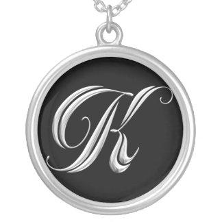 Silver Monogram Necklace - letter K