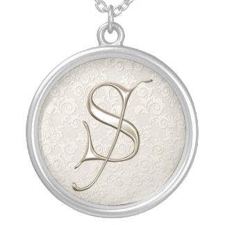Silver Monogram Necklace - letter S