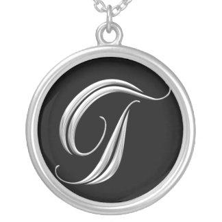 Silver Monogram Necklace - letter T