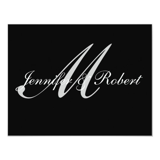 Silver Monogram on Black Polka Dots RSVP Card
