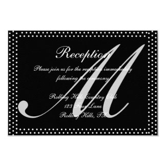Silver Monogram on Black with Polka Dots Wedding 3.5x5 Paper Invitation Card
