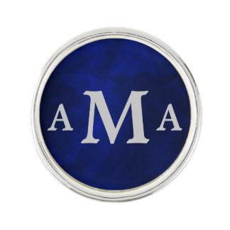 Silver Monogram Royal Blue Lapel Pin
