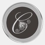 Silver Monogram Stickers:Initial C