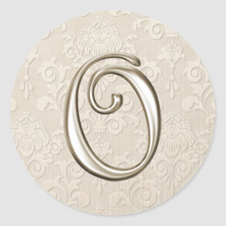 Silver Monogram Wedding Stickers - letter O