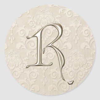 Silver Monogram Wedding Stickers - letter R
