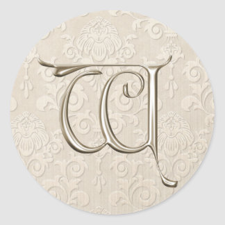 Silver Monogram Wedding Stickers - letter W