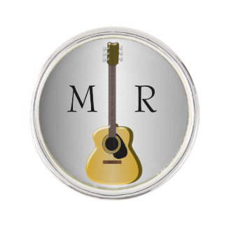 Silver Monogrammed Acoustic Guitar Lapel Pin