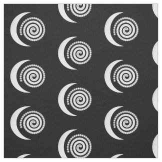 Silver Moon Spiral on black Fabric