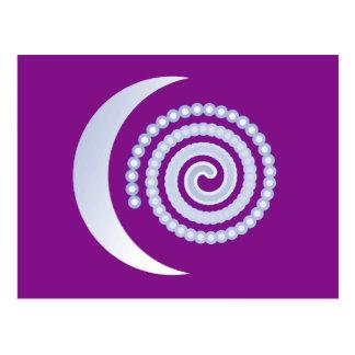 Silver Moon Spiral on purple Postcard