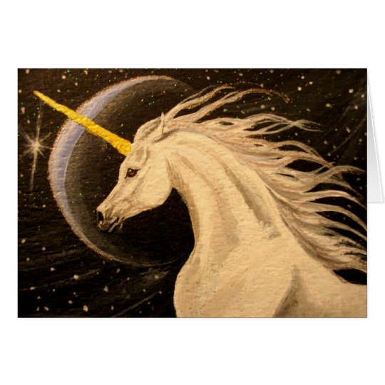 Silver Moon Unicorn Card
