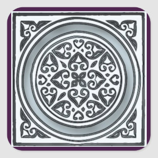 silver mosaic tiles monogram - square sticker