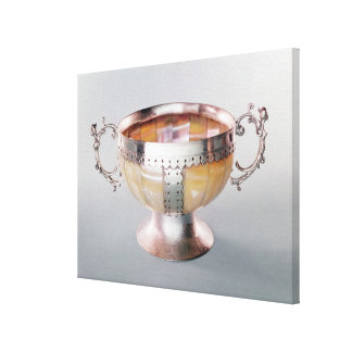 Silver mounted mother-of-pearl wassail bowl stretched canvas print